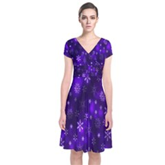 Bokeh Background Texture Stars Short Sleeve Front Wrap Dress by Amaryn4rt