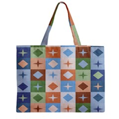Fabric Textile Textures Cubes Medium Zipper Tote Bag