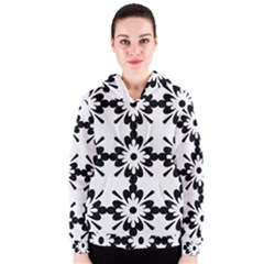 Floral Illustration Black And White Women s Zipper Hoodie by Amaryn4rt