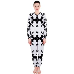 Floral Illustration Black And White Onepiece Jumpsuit (ladies)