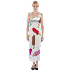 Ice Cream Pattern Fitted Maxi Dress