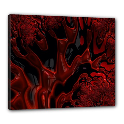 Fractal Red Black Glossy Pattern Decorative Canvas 24  X 20  by Amaryn4rt