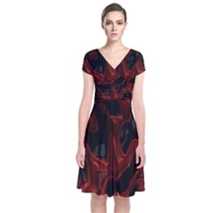 Fractal Red Black Glossy Pattern Decorative Short Sleeve Front Wrap Dress by Amaryn4rt