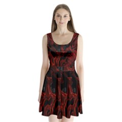 Fractal Red Black Glossy Pattern Decorative Split Back Mini Dress  by Amaryn4rt
