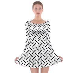 Geometric Pattern Long Sleeve Skater Dress