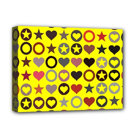 Heart Circle Star Seamless Pattern Deluxe Canvas 16  X 12