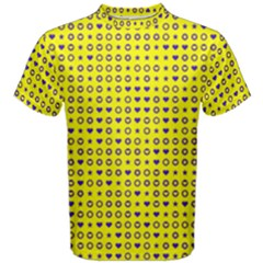 Heart Circle Star Seamless Pattern Men s Cotton Tee