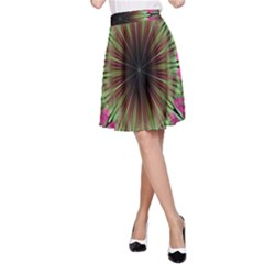 Julian Star Star Fun Green Violet A-line Skirt by Amaryn4rt