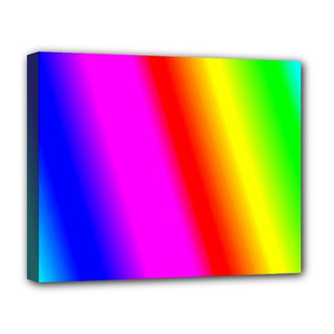Multi Color Rainbow Background Deluxe Canvas 20  X 16   by Amaryn4rt