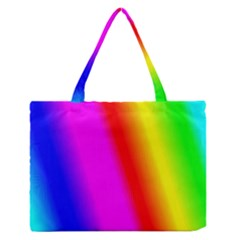 Multi Color Rainbow Background Medium Zipper Tote Bag by Amaryn4rt