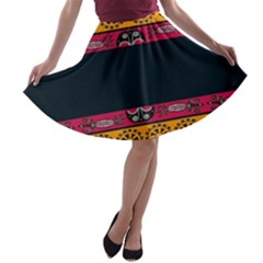 Pattern Ornaments Africa Safari Summer Graphic A Line Skater Skirt by Amaryn4rt