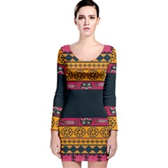 Pattern Ornaments Africa Safari Summer Graphic Long Sleeve Velvet Bodycon Dress by Amaryn4rt