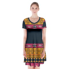 Pattern Ornaments Africa Safari Summer Graphic Short Sleeve V-neck Flare Dress by Amaryn4rt