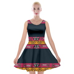 Pattern Ornaments Africa Safari Summer Graphic Velvet Skater Dress by Amaryn4rt