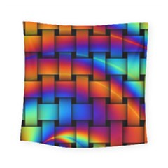 Rainbow Weaving Pattern Square Tapestry (small)
