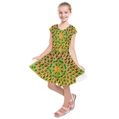 Star Pattern Tile Background Image Kids  Short Sleeve Dress by Amaryn4rt