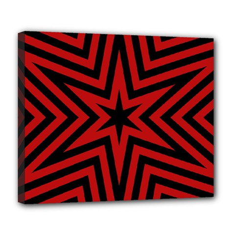 Star Red Kaleidoscope Pattern Deluxe Canvas 24  X 20