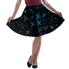 Stars Pattern Seamless Design A Line Skater Skirt by Amaryn4rt