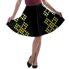 Vintage Pattern Background  Vector Seamless A Line Skater Skirt by Amaryn4rt