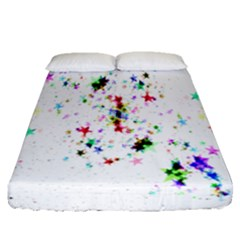 Star Structure Many Repetition Fitted Sheet (queen Size) by Amaryn4rt