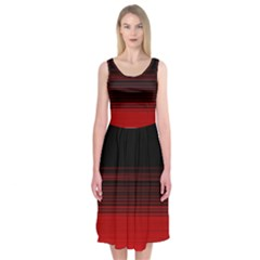 Abstract Of Red Horizontal Lines Midi Sleeveless Dress by Amaryn4rt
