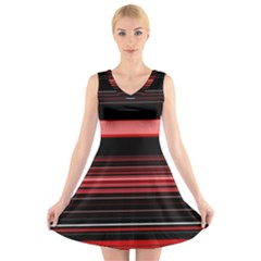 Abstract Of Red Horizontal Lines V Neck Sleeveless Skater Dress by Amaryn4rt