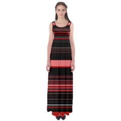 Abstract Of Red Horizontal Lines Empire Waist Maxi Dress