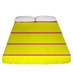 Background Image Horizontal Lines And Stripes Seamless Tileable Magenta Yellow Fitted Sheet (california King Size)