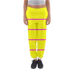 Background Image Horizontal Lines And Stripes Seamless Tileable Magenta Yellow Women s Jogger Sweatpants