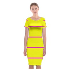 Background Image Horizontal Lines And Stripes Seamless Tileable Magenta Yellow Classic Short Sleeve Midi Dress by Amaryn4rt