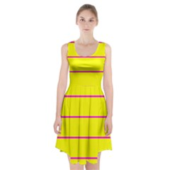 Background Image Horizontal Lines And Stripes Seamless Tileable Magenta Yellow Racerback Midi Dress by Amaryn4rt