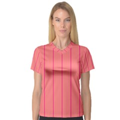 Background Image Vertical Lines And Stripes Seamless Tileable Deep Pink Salmon Women s V-neck Sport Mesh Tee