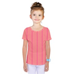 Background Image Vertical Lines And Stripes Seamless Tileable Deep Pink Salmon Kids  One Piece Tee by Amaryn4rt