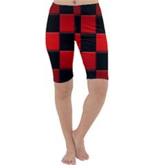 Black And Red Backgrounds Cropped Leggings