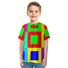 Colors Purple And Yellow Kids  Sport Mesh Tee