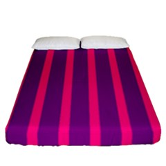 Deep Pink And Black Vertical Lines Fitted Sheet (queen Size) by Amaryn4rt