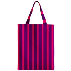Deep Pink And Black Vertical Lines Zipper Classic Tote Bag by Amaryn4rt