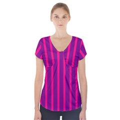 Deep Pink And Black Vertical Lines Short Sleeve Front Detail Top