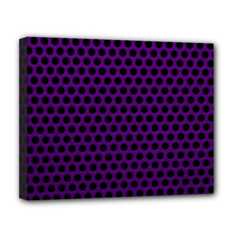 Dark Purple Metal Mesh With Round Holes Texture Deluxe Canvas 20  X 16   by Amaryn4rt
