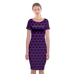Dark Purple Metal Mesh With Round Holes Texture Classic Short Sleeve Midi Dress