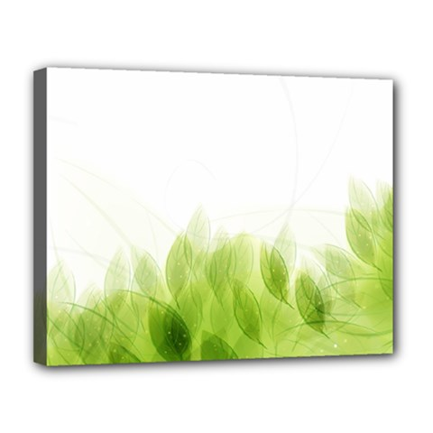Green Leaves Pattern Canvas 14  X 11
