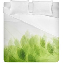 Green Leaves Pattern Duvet Cover Double Side (king Size) by Amaryn4rt