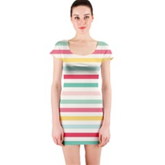Papel De Envolver Hooray Circus Stripe Red Pink Dot Short Sleeve Bodycon Dress