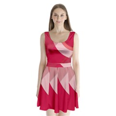 Red Material Design Split Back Mini Dress  by Amaryn4rt