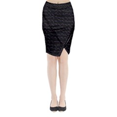 Smooth Color Pattern Midi Wrap Pencil Skirt