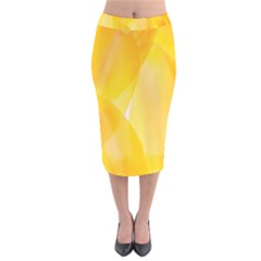 Yellow Pattern Painting Velvet Midi Pencil Skirt