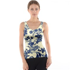 Vintage Blue Drawings On Fabric Tank Top by Amaryn4rt