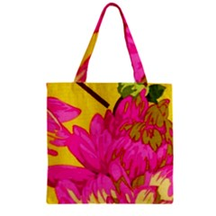 Beautiful Pink Flowers Zipper Grocery Tote Bag by Brittlevirginclothing