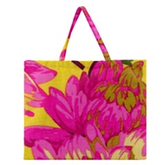 Beautiful Pink Flowers Zipper Large Tote Bag by Brittlevirginclothing