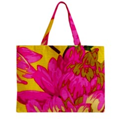 Beautiful Pink Flowers Medium Zipper Tote Bag by Brittlevirginclothing
